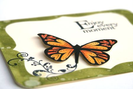Green Butterfly card detail